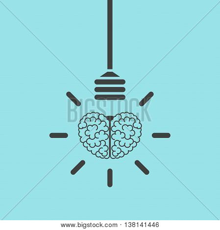 Human brain and lightbulb hanging on wire on blue backgroung. Success idea inspiration and business concept. Flat design. Vector illustration. EPS 8 no transparency