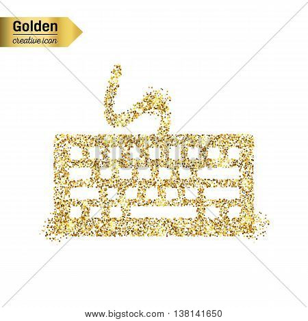 Gold glitter vector icon of keyboard isolated on background. Art creative concept illustration for web, glow light confetti, bright sequins, sparkle tinsel, abstract bling, shimmer dust, foil.