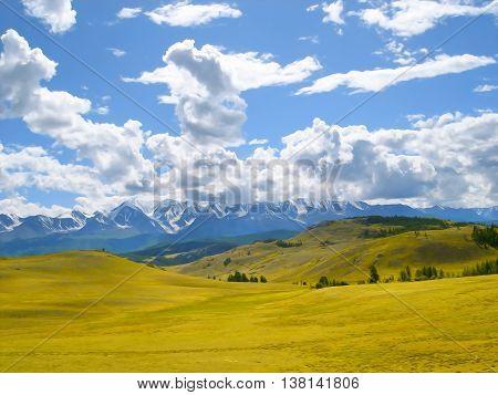 autumn landscape oil paint. Altai Mountains fresh air undisturbed pristine nature Illustration peaceful Highlands Orange oblique field