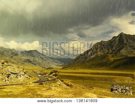 Illustration oil paint autumn rainy day landscape. Altai Mountains fresh air undisturbed pristine nature. Orange oblique field plateau car goes on mountain serpentine road peaceful Highlands.