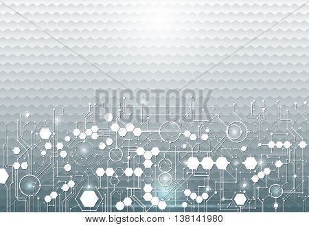 Vector illustration circuit board on hexagons background. Hi-tech digital technology and engineering digital telecom technology concept. Vector abstract futuristic on light blue color background
