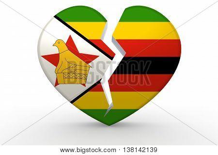 Broken White Heart Shape With Zimbabwe Flag