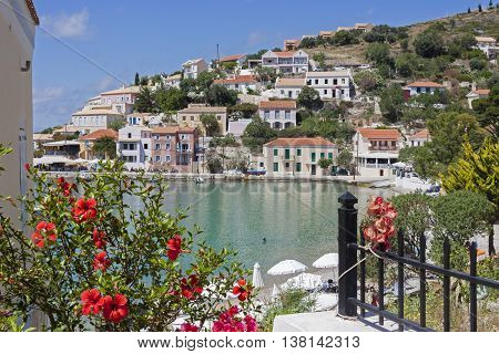 assos bay with the picturesque village that overlooks the water, in Kefalonia