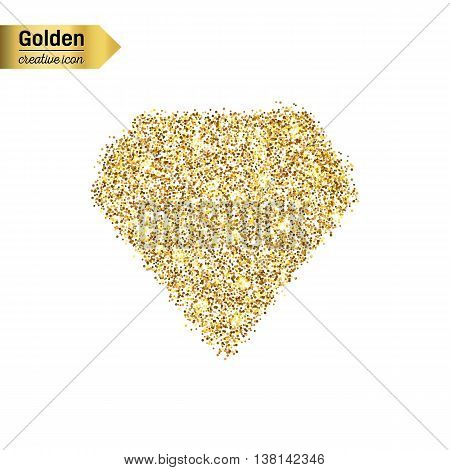 Gold glitter vector icon of diamond isolated on background. Art creative concept illustration for web, glow light confetti, bright sequins, sparkle tinsel, abstract bling, shimmer dust, foil.