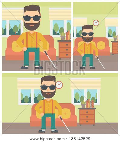 A blind hipster man in dark glasses standing with walking stick in the living room. Vector flat design Illustration. Square, horizontal, vertical layouts.