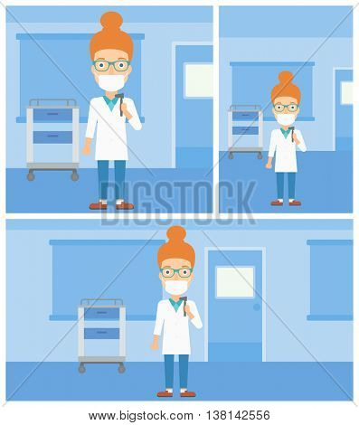 Female ear nose throat doctor in mask holding tools used for examination while standing in the medical office. Vector flat design Illustration. Square, horizontal, vertical layouts.