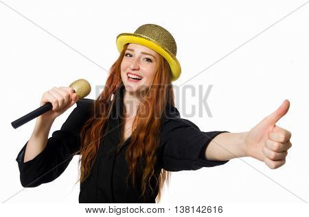 Funny woman in karaoke isolated on white