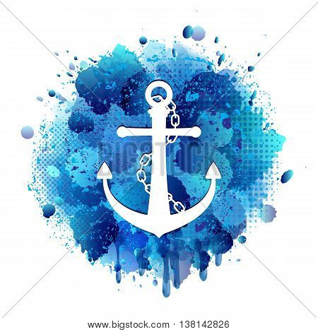 Anchor white icon with chain on abstract artistic background of blue paint splashes. Vector illustration