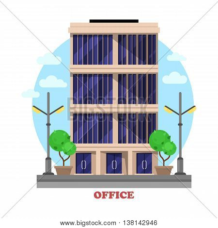 Business office architecture facade or building outdoor exterior with bushes or trees, lamp or lantern on sides, tall windows. Administrative skyscraper for renting rooms for office work