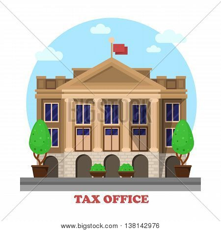 Tax office architecture or financial building facade exterior with column or pillar and bushes or trees on sides. Cityscape social business construction for income tax department or revenue service.