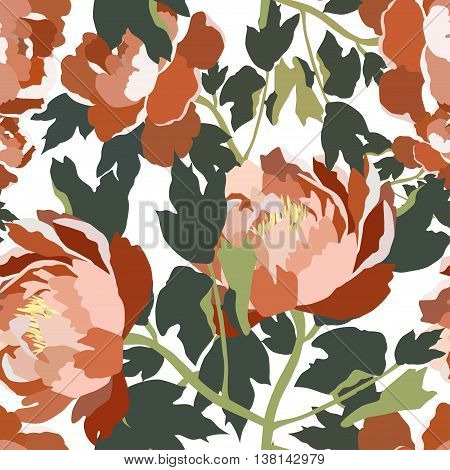 Seamless floral patter with roses.Colorful vector print.Textile texture
