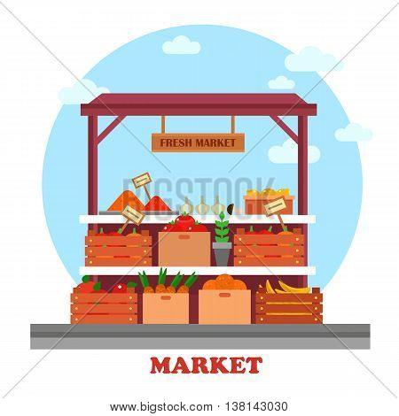 Food counter or stall at market or bazaar, display window with groceries or good like tomato and carrot with prices on them, onion and fresh lemon, tasty banana