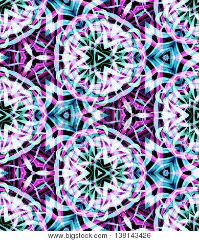 tropical kaleidoscope pattern with transparent palm leaves, forming beautiful intricate symmetrical shapes.