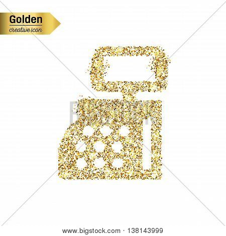 Gold glitter vector icon of cash register isolated on background. Art creative concept illustration for web, glow light confetti, bright sequins, sparkle tinsel, abstract bling, shimmer dust, foil.