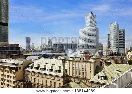 Old And New Warsaw At Sunny Day