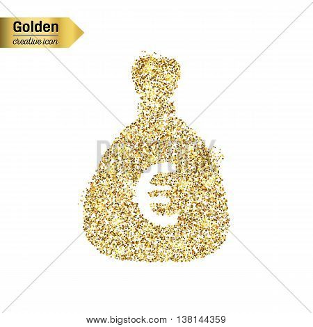 Gold glitter vector icon of money bag isolated on background. Art creative concept illustration for web, glow light confetti, bright sequins, sparkle tinsel, abstract bling, shimmer dust, foil.