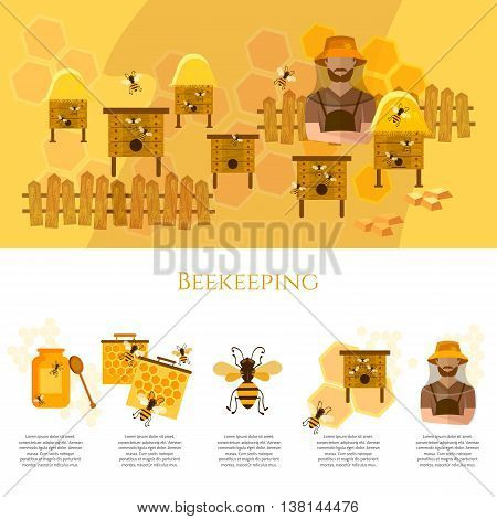 Honey and beekeeping infographics beekeeper on apiary vector