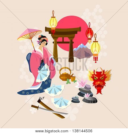 Japanese geisha tradition and culture japanese vector illustration