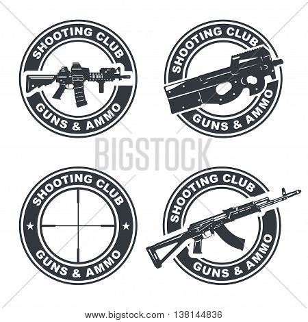Set of shooting club emblem, badges, logos illustration. With assault rifles. Vector EPS10.