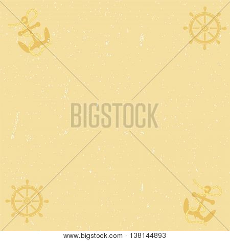 Old yellow paper background with scratches, anchor and helm.