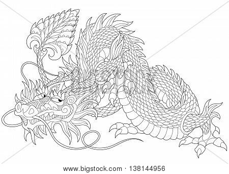Stylized dragon - symbol of chinese new year, isolated on white background. Freehand sketch for adult anti stress coloring book page with doodle and zentangle elements.