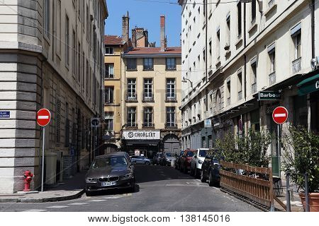 LYON, FRANCE - MAY 24, 2015: These are quiet old streets of Lyon near Bellecour Square.