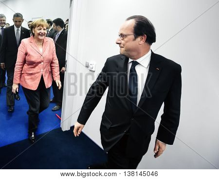 Angela Merkel And Francois Hollande At Nato Sammit
