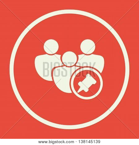 User Pin Icon In Vector Format. Premium Quality User Pin Symbol. Web Graphic User Pin Sign On Red Ba