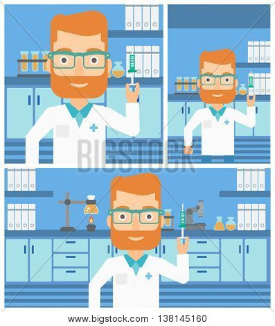 Hipster laboratory assistant with the beard holding syringe on the background of a laboratory with equipment. Vector flat design Illustration. Square, horizontal, vertical layouts.
