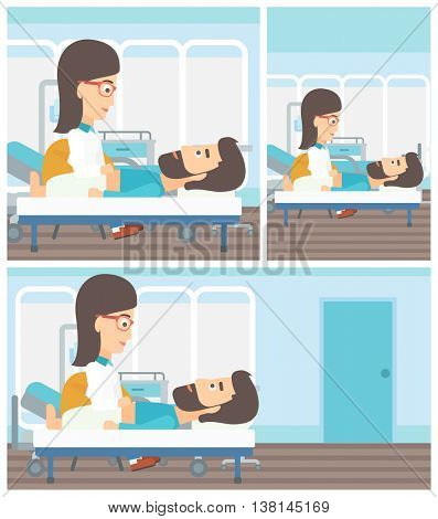 Young female doctor touching abdomen of patient. Hipster man with the beard on reception at doctor. Vector flat design Illustration. Square, horizontal, vertical layouts.