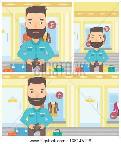 Young hipster man with the beard showing his wallet purse on the background of showcase of a store. Vector flat design illustration. Square, horizontal, vertical layouts.