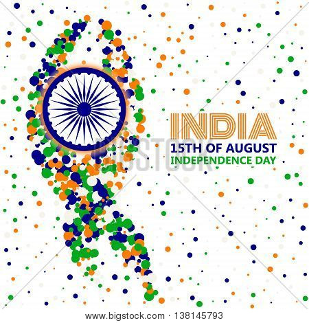 India Independence Day concept in traditional colors - saffron green navy blue.