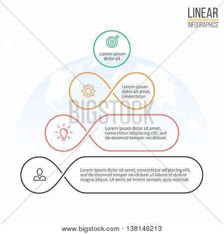 Pyramid for infographics. Business diagram, chart with 4 steps, options, levels. Vector design element