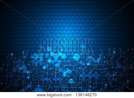 Vector illustration circuit board on hexagons background. Hi-tech digital technology and engineering digital telecom technology concept. Vector abstract futuristic on dark blue color background