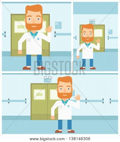 A hipster doctor in medical gown showing ok sign in the hospital corridor. Vector flat design Illustration. Square, horizontal, vertical layouts.