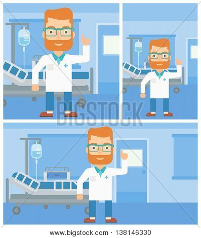 A hipster doctor in medical gown showing finger up while standing on the background of hospital ward. Vector flat design Illustration. Square, horizontal, vertical layouts.