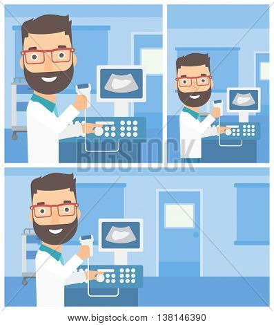 Young hipster male doctor working on modern ultrasound equipment and holding scanner in hand at medical office. Vector flat design Illustration. Square, horizontal, vertical layouts.