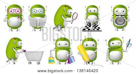 Set of funny green robots drinking cocktail, playing chess, reading newspaper, shouting in megaphone, doing shopping, drawing with pencil. Vector illustration isolated on white background.