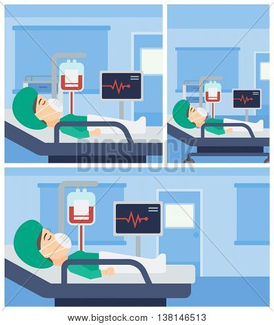 Young woman in oxygen mask lying in hospital ward with heart rate monitor and equipment for blood transfusion. Vector flat design Illustration. Square, horizontal, vertical layouts.