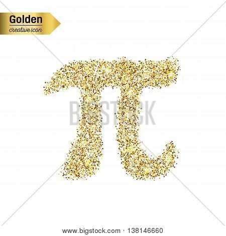 Gold glitter vector icon of pi isolated on background. Art creative concept illustration for web, glow light confetti, bright sequins, sparkle tinsel, abstract bling, shimmer dust, foil.