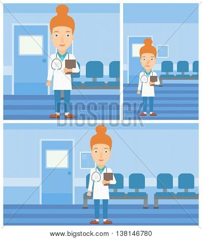 Female friendly doctor with stetoscope standing in hospital corridor and carrying folder of patient or medical information. Vector flat design Illustration. Square, horizontal, vertical layouts.