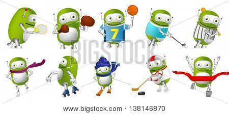 Set of cute green robots wearing sports uniform and using sports equipment. Green robots playing hockey, baseball, basketball, golf, tennis, rugby. Vector illustration isolated on white background.