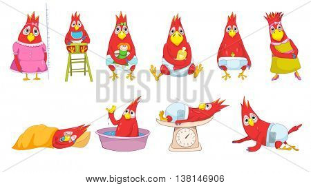 Set of funny baby parrots playing with toys, eating, lying on a scale, sleeping, crawling, washing in basin, measuring growth, sitting in baby chair. Vector illustration isolated on white background.