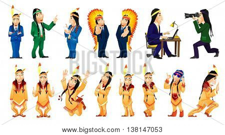 Set of illustrations of american indians posing in national costumes. American indians wearing business suits and working on laptop, tablet computer. Vector illustration isolated on white background.
