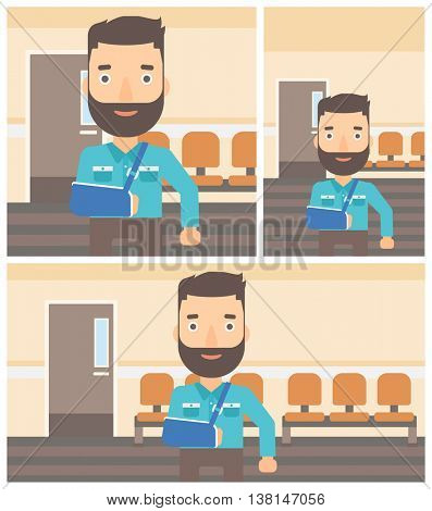 Young hipster man with broken right arm in brace standing in the hospital corridor. Vector flat design Illustration. Square, horizontal, vertical layouts.