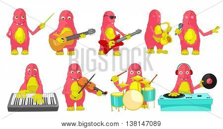 Set of cute big pink monsters conducting with baton, singing, playing guitar, saxophone, drum, synthesizer, violin, mixing music on turntables. Vector illustration isolated on white background.