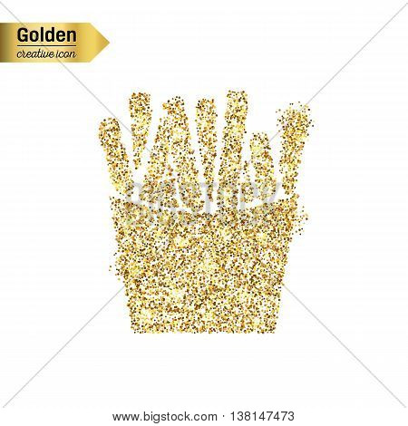 Gold glitter vector icon of French fries isolated on background. Art creative concept illustration for web, glow light confetti, bright sequins, sparkle tinsel, abstract bling, shimmer dust, foil.