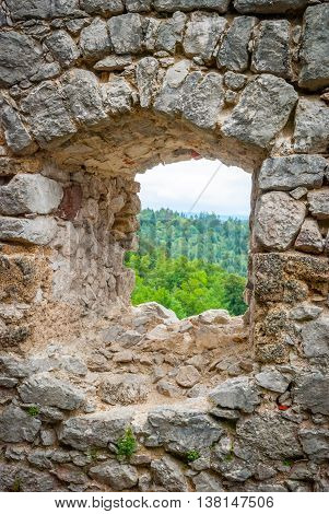 View through old castle window Grad Kamen Slovenia