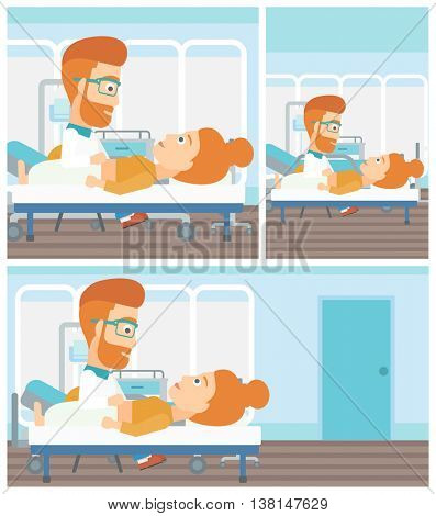 A hipster doctor with the beard touching abdomen of female patient. Woman on reception at doctor. Vector flat design Illustration. Square, horizontal, vertical layouts.