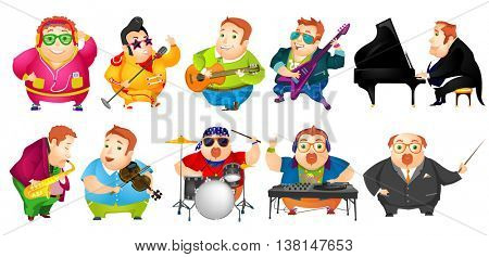 Set of cheerful fat man conducting with baton, listening music, singing, playing guitar, saxophone, piano, violin, drum, mixing music on turntables. Vector illustration isolated on white background.